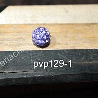 Separador con strass tipo shamballa color lila de 8 mm, por unidad