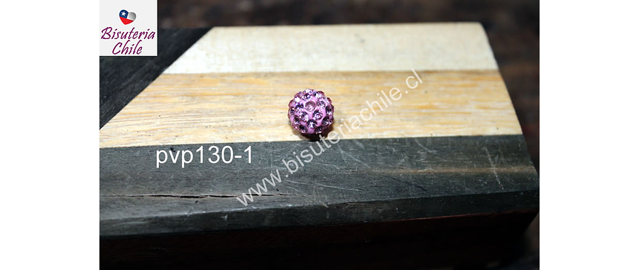 Separador con strass tipo shamballa color rosado de 8 mm, por unidad