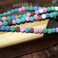Piedra volcanica multicolor colores pasteles, 6 mm, tira de 62 piedras aprox