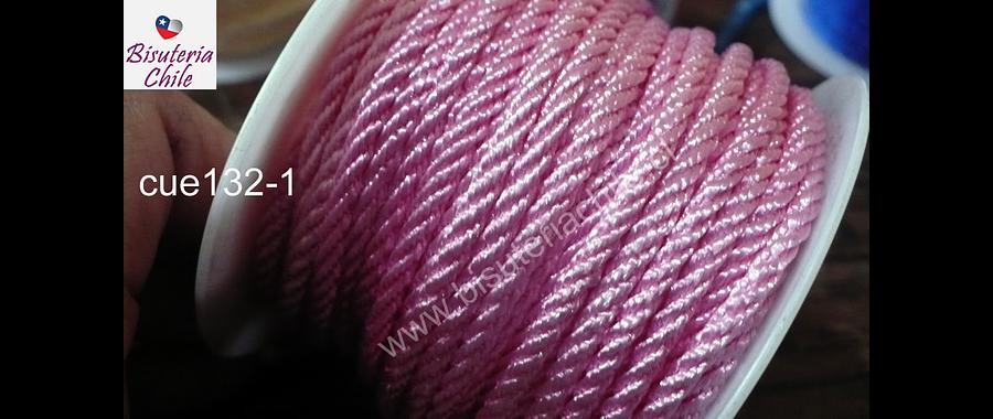 Hilo trenzado 3 mm en color rosado claro, rollo de 23 metros