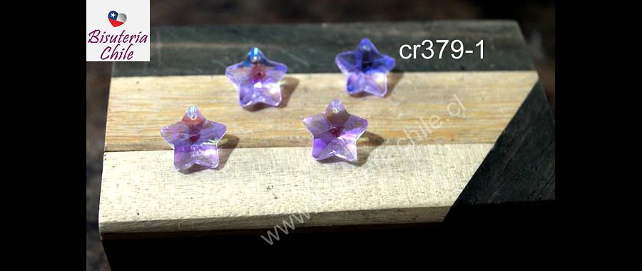 Cristal en forma de estrella color lila, 14 x 14 mm, set de 4 unidades (no incluye valier)