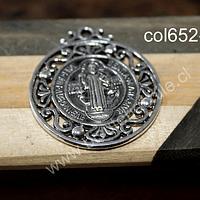 Colgante plateado San Benito, 40 mm de diámetro, por unidad