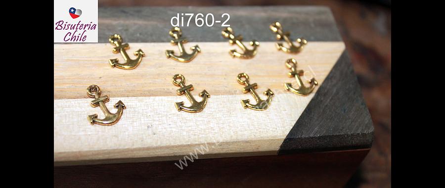 Dije dorado en forma de ancla, 10 x 8 mm, set de 8 unidades