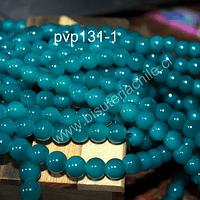Perla de vidrio color calipso oscuro, 8 mm, tira de 100 unidades aprox
