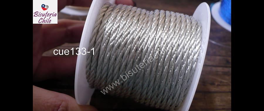 Hilo trenzado 3 mm en color gris, rollo de 23 metros
