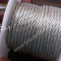 Hilos, Hilo trenzado 3 mm en color gris, rollo de 23 metros