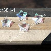 Cristal en forma de estrella color transparente tornasol, 14 x 14 mm, set de 4 unidades (no incluye valier)