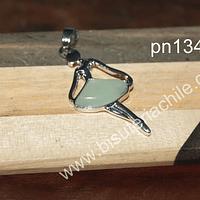 Colgante jade en forma de bailarina, 43 x 22 mm, por unidad