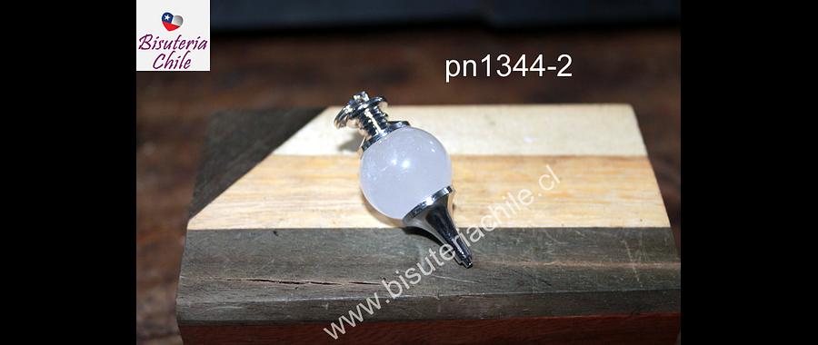 Colgante tipo péndulo cuarzo cristal, 30 mm de largo x 15 mm de ancho, por unidad