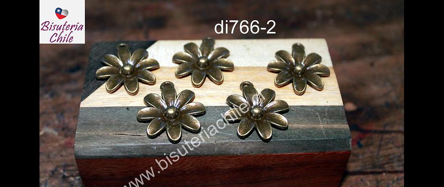 Dije flor envejecida, 25 mm de diámetro, set de 5 unidades