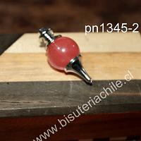 Colgante tipo péndulo cuarzo cherry, 30 mm de largo x 15 mm de ancho, por unidad