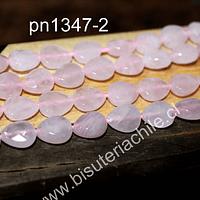 Cuarzo rosado en forma de hoja facetada, 11 mm de largo x 9 mm de ancho, tira de 18 piedras