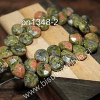 Unakita en forma de gota facetada, 12 mm de largo x 10 mm de ancho, tira de 14 piedras