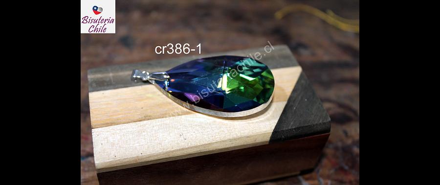 Colgante cristal en forma de gota tornasol 50 mm de largo x 30 mm de ancho, por unidad