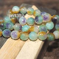 Agata de 10 mm en tonos verdes, lilas y naranjos de aprox 38 piedras aprox
