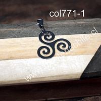 Colgante Acero símbolo celta trisquel, 29mm de largo x 27 mm de ancho, por unidad
