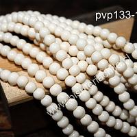 Perla de vidrio pintado 6 mm color blanco invierno tira de 140 unidades