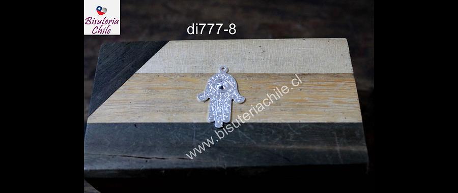 Mano de hamsa baño de plata, 23 mm de largo x 17 mm de año, por unidad