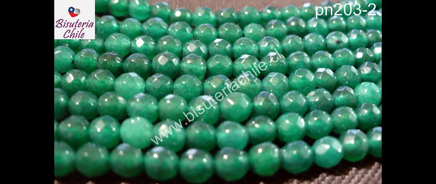 Agata verde de 4 mm, tira de 90 piedras aprox