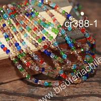 cristal multicolor 3 mm x 2 mm, tira de 148 cristales aprox