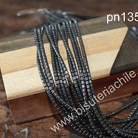Hematite negra en forma de tubo de 2.5 x 2 tira de 160 piedraas aprox