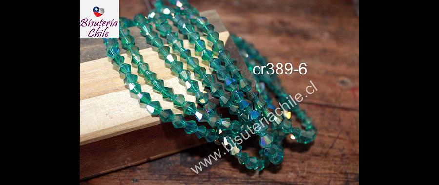 Cristal tupi 6 mm verde tornasol, tira de 50 cristales aprox
