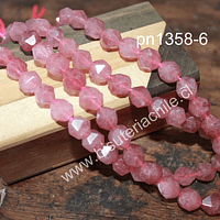 Opalo rosado corte hexagonal de 10 mm, tira de 10 piedras