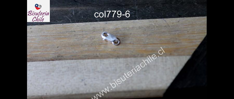 Cierre de plata, 10 mm de largo, por unidad