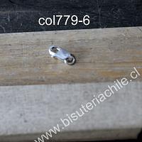 Cierre de plata, 8 mm de largo, por unidad