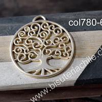 Colgante àrbol de la vida, baño de oro, 42 mm de diámetro, por unidad