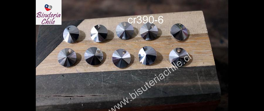 Cristal tipo Rivoli, color plateado 10 mm de diámetro, set de 10 unidades