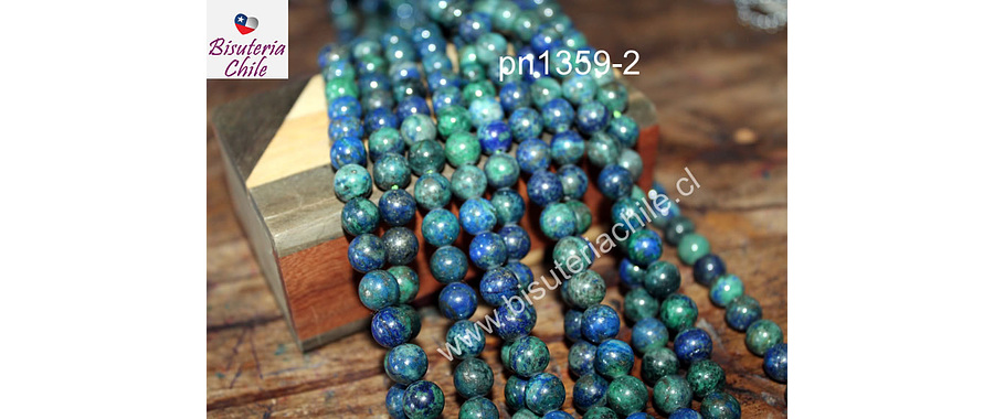 Azurita de 8 mm, tira de 48 piedras aprox
