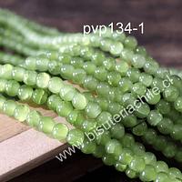 Perla de vidrio en color verde craquelado, de 8 mm, tira de 100 unidades aprox.