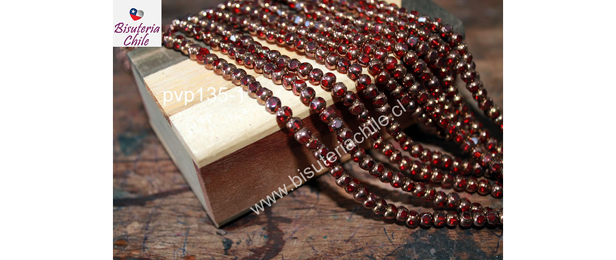 vidrio color rojo con cobre, 4 mm, tira de 80 perlas aprox.