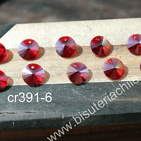 Cristal tipo Rivoli, color rojo 10 mm de diámetro, set de 10 unidades