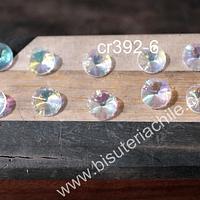 Cristal tipo Rivoli, color transparente tornasol 10 mm de diámetro, set de 10 unidades