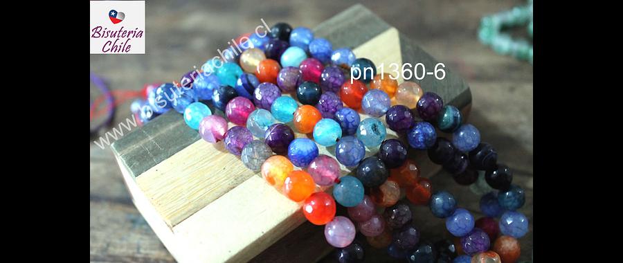 Agata multicolor de 8 mm, tira de 48 piedras aprox