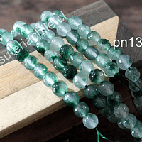 Agata de 8 mm en tono verde jaspeado, tira de 47 piedras aprox