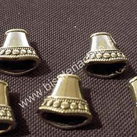 Terminal dorado, 15 mm de largo, por 8 mm de ancho, agujero de 6 por 7 mm, set de 5 unidades
