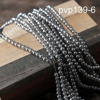 Perla de vidrio tono gris tornasol de 4 mm, tira de 125 perlas aprox