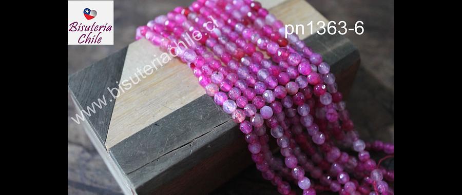Agata facetada de de 4 mm, en tonos fucsias y rosados, tira de 90 piedras aprox.