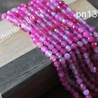 Agatas, Agata facetada de de 4 mm, en tonos fucsias y rosados, tira de 90 piedras aprox.