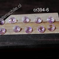 Cristal tipo Rivoli, color rosadol 10 mm de diámetro, set de 10 unidades