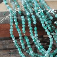 Agata facetada de de 4 mm, en tonos verdes, tira de 90 piedras aprox.