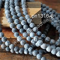 Agata frosting 8 mm, en color negro, tira de 46 piedras aprox