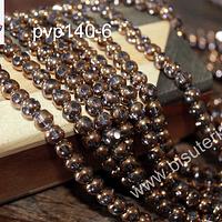 Perla de cobre con aplicaciones de vidrio color rosado , 6 mm de diámetro, tira de 52 perlas aprox.
