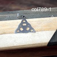 Colgante acero quirúrgico 27 x 25  mm de diámetro, por unidad