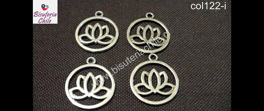 Dije flor de loto plateado, 20 mm de diámetro, set de 4 unidades