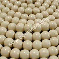 Perla de vidrio pintado 6 mm color blanco invierno tira de 72 perlas aprox