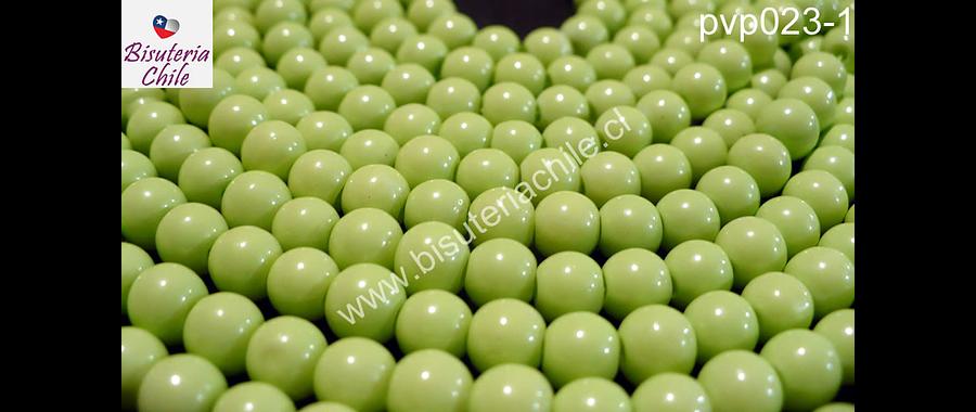 Perla de vidrio pintado 6 mm color verde limón  tira de 140 unidades